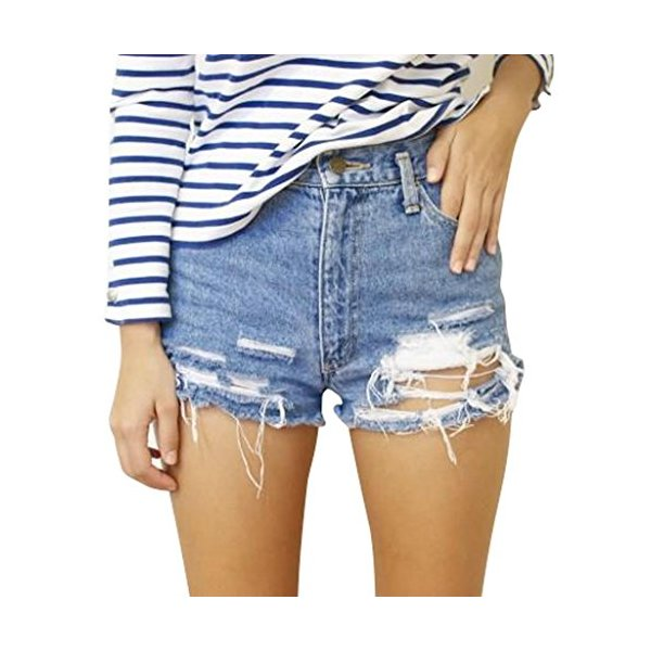 Women's Vintage Wrangler Distressed High Waisted Ripped Arizona Denim Short-L