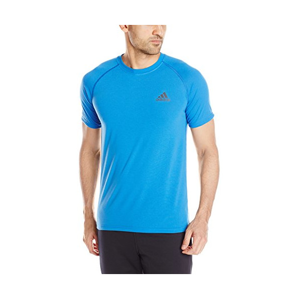 adidas Performance Men's Ultimate Short Sleeve Crew Tee, Bright Royal Blue/Solid Grey, XX-Large