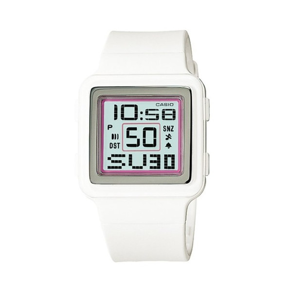 Casio Digital Poptone White Resin Grey Dial Women's Watch