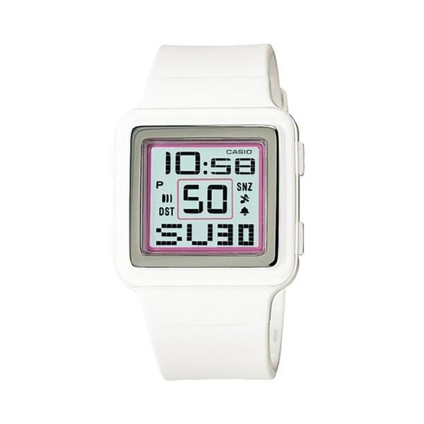 Casio Digital Poptone White Resin Grey Dial Women's Watch