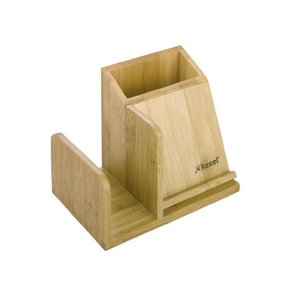 Rexel Bamboo Desktop Organiser Pencil Cup Sorter and Business Card Holder