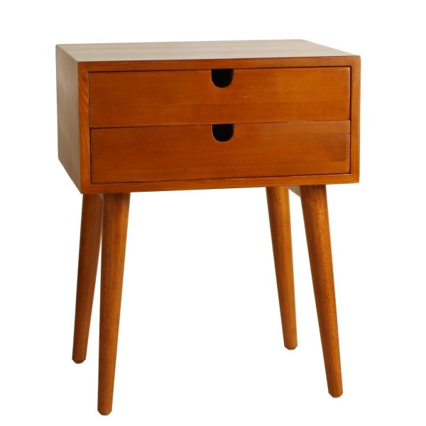 Porthos Home Ravel Mid-Century Double-Drawer Walnut Side Table, Natural