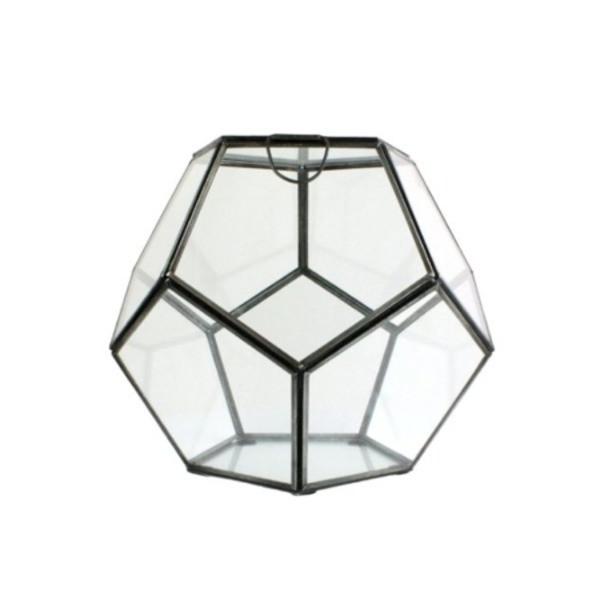 HomArt Pierre Faceted Glass Terrarium, Large, 1-Count