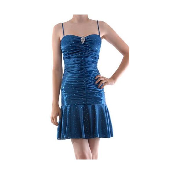 YACIA Silky Strapped Scrunchy Dress w/ Sequin Blue