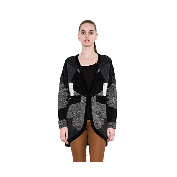 Scarlett Fashion Wool Coat Grey Black Parka Patchwork Jacket by One Grey Day-L