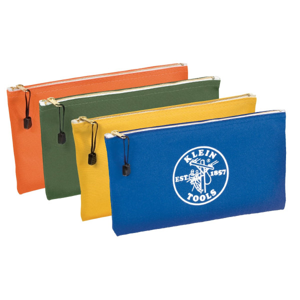 Klein Tools Canvas Zipper Bags, 4-Pack