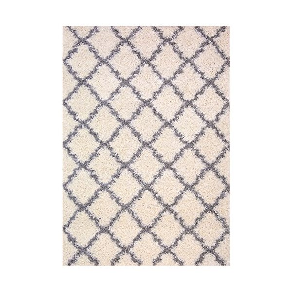 Trellis Ivory (Off-white) Grey Shag Area Rug Rugs Shaggy Collection (Ivory (Off-white), 5'x7')