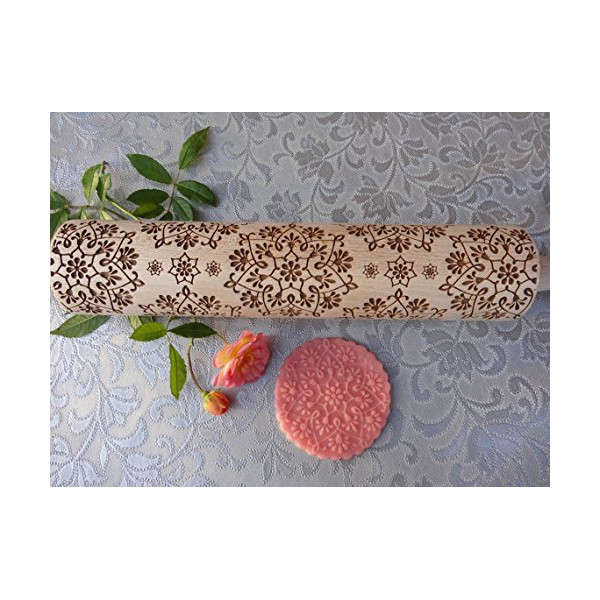 ART NOUVEAU Wonderful flowers rolling pin and cookie cutter