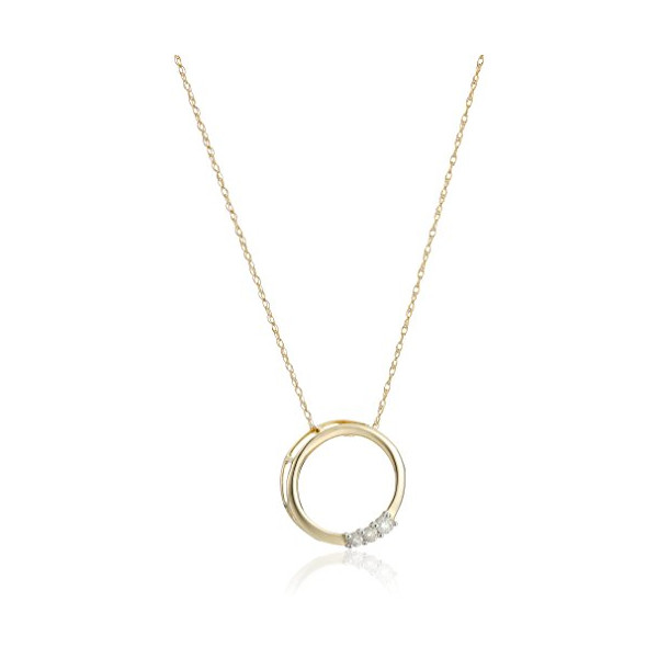 10k Yellow Gold Three-Stone Diamond (1/10 cttw, I-J Color, I2-I3 Clarity) Circle Pendant Necklace, 18""
