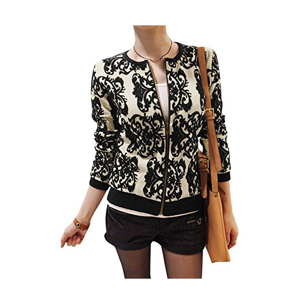 Lady Zip Up Front Jacquard Pattern Long Sleeve Ribbed Trim Knit Jacket