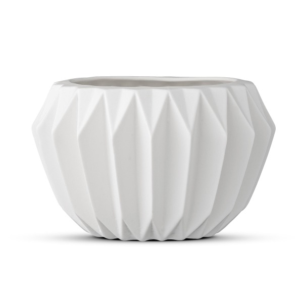 Bloomingville Round Ceramic Fluted Flower Pot, White