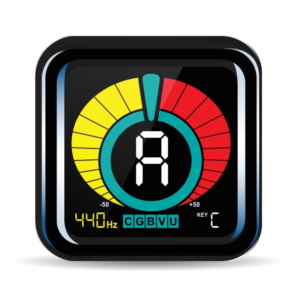 KLIQ UberTuner - Clip On Tuner - With Guitar, Bass, Violin, Ukulele, and Chromatic Tuner Modes - Best for All Acoustic & Electric Instruments - Full Color Display - Pitch Calibration - Transposition Settings