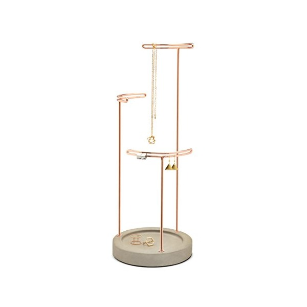 Umbra Tesora Jewelry Stand, Concrete/Copper