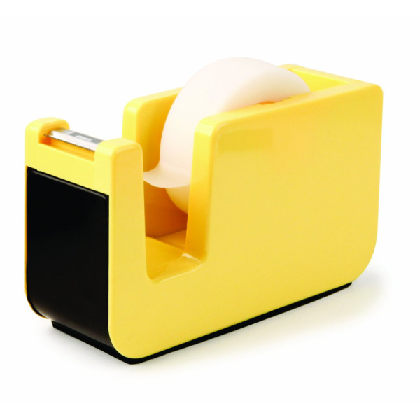Kikkerland Retro Desktop Tape Dispenser, Yellow