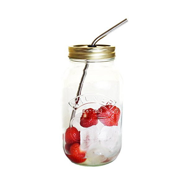 1 Litre Eco Mason Jars Kilner Stainless Steel Straw Whole Green Juice Smoothie Fruit Water Detox Raw Diets