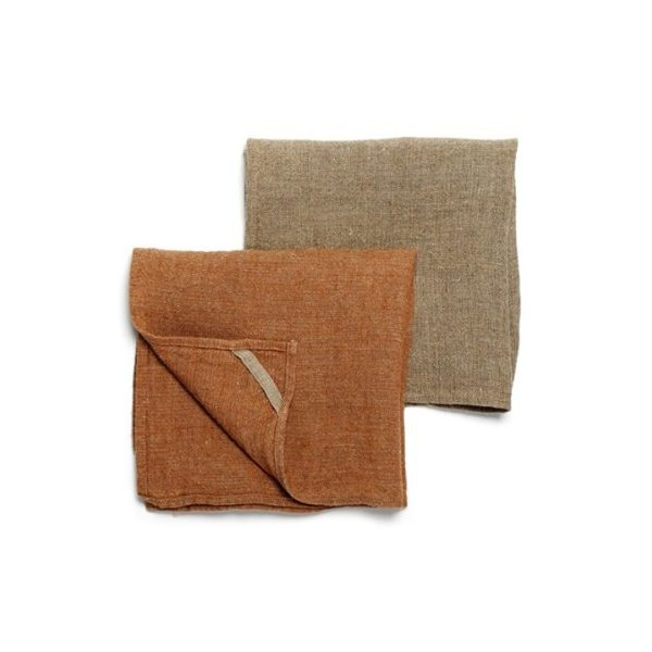 Teroforma Neat&Clean Kitchen Cloths Set of 2, Flax/Cinnamon Brown Blend (FFP)