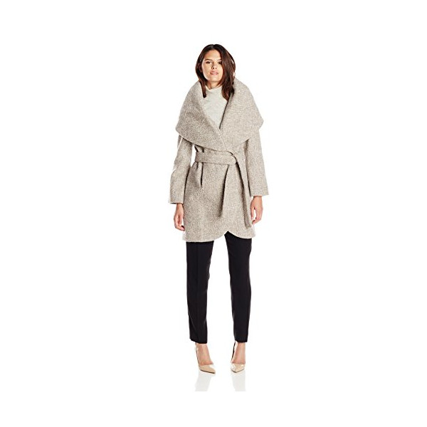 T Tahari Women's Marla Wool Wrap Coat Tweed, Mink/Macrame, Medium