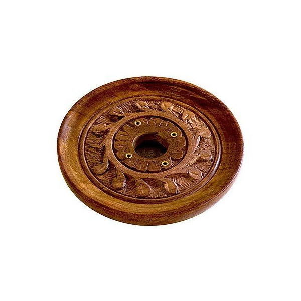 "Wooden Carved ""Vines"" 4"" Incense Burner - Cones or Sticks"