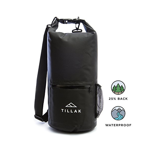 Tillak Kiwanda Dry Bag 10L, Premium Waterproof Backpack With Zip and Bottle Pocket, Adjustable Straps - Roll Top Compression Dry Sack Perfect For Kayaking, Boating, Fishing, Camping, or at the Beach