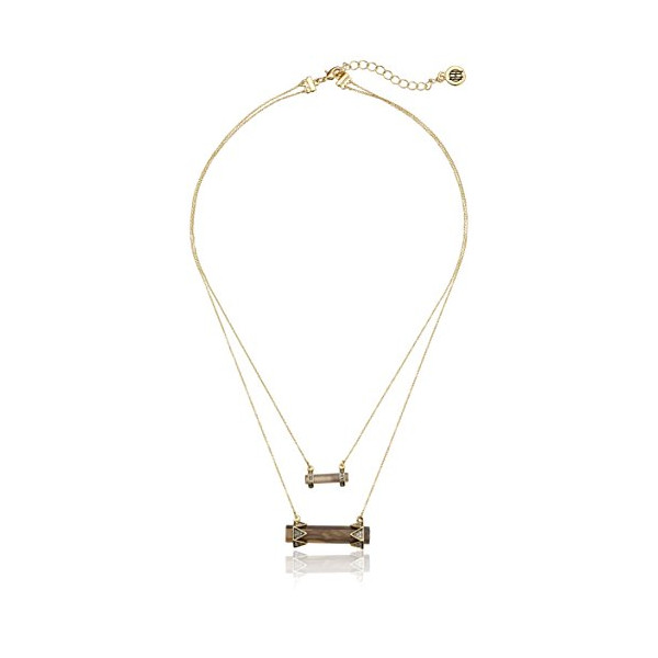 House of Harlow 1960 Smokey Quartz Resin Chrysalis Double Drop Chain Necklace