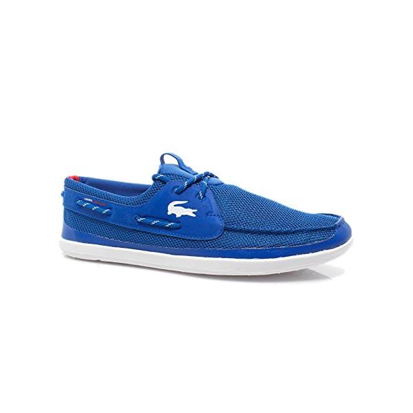 Lacoste Men's Light and Sailing T2 Boat Shoe, Blue/White, 10.5 M US