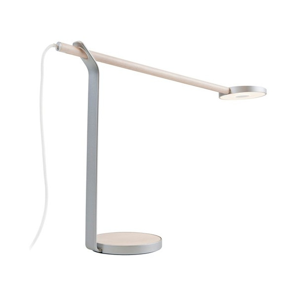 Gravy LED Desk Lamp, Walnut and Matte White, Warm Light