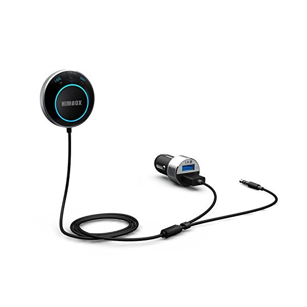 [Wirecutter's Pick] iClever® Himbox Bluetooth 4.0 Hands-Free Car Kit with 3.5 mm Aux Jack, Multi-Point Access, Siri / Voice Activation, Dual USB Charger & Magnetic Base, Updated Aluminum Ring - Silver