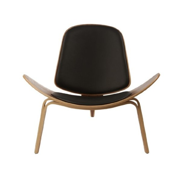 Wegner Leather Shell Chair - Black Leather