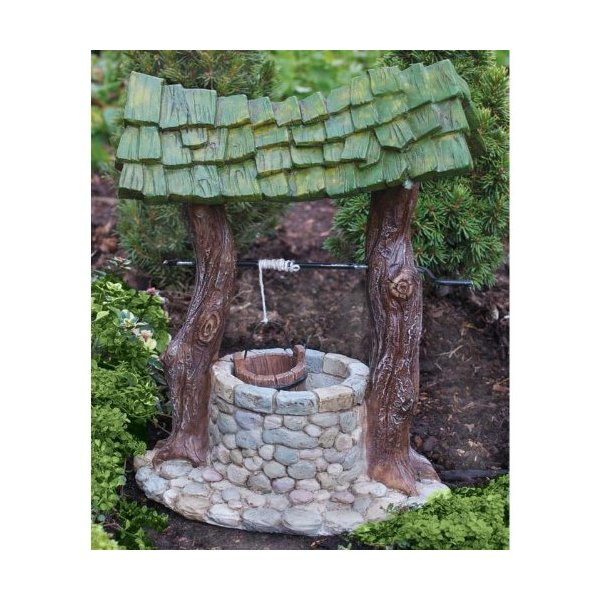 "Miniature Fairy Garden Fiddlehead Fairy Village - Wishing Well 6.75"" L"