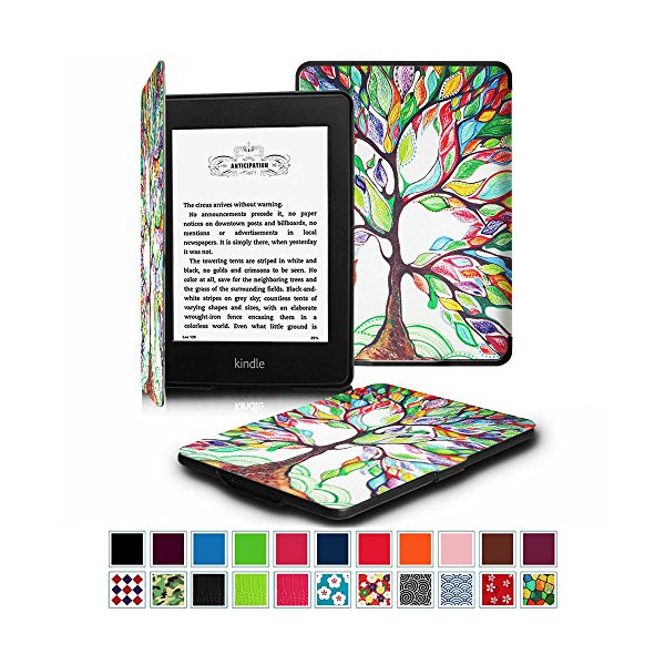 Fintie Kindle Paperwhite SmartShell Case - The Thinnest and Lightest Leather Cover for All-New Amazon Kindle Paperwhite (Fits All versions: 2012, 2013, 2014 and 2015 New 300 PPI), Love Tree