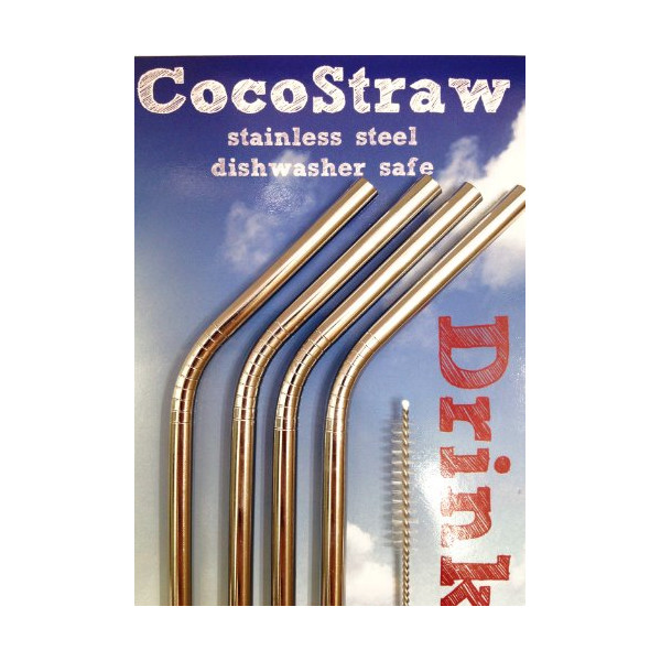 Stainless Steel Drink Straws- Set of 4 straws straws + Cleaning Brush - CocoStraw Brand Drinking Straw - FUN! Handy, Elegant, Metal,Washable, SAFE, NON-TOXIC non-plastic or glass - UNbreakable!