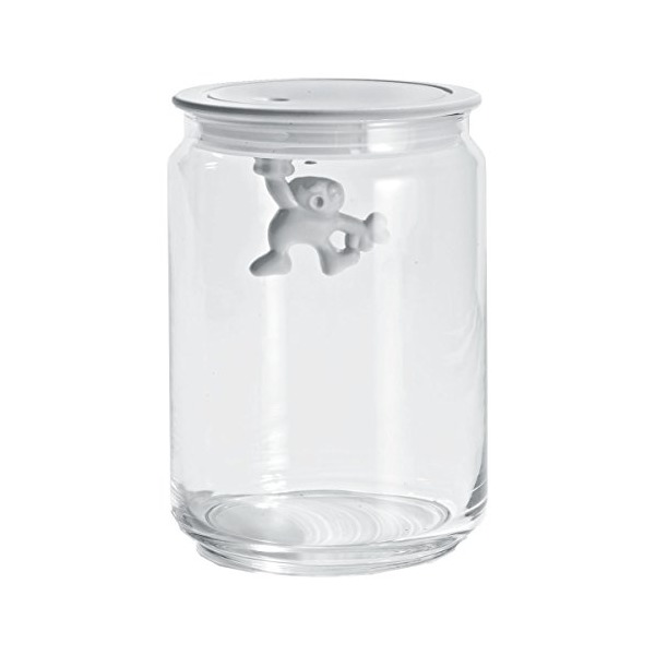 A di Alessi - Dream Factory Gianni Storage Jar with Lid by Mattia Di Rosa Size: Medium, Color: White