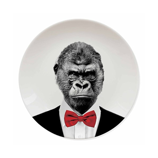 Mustard M12006A Wild Dining Ceramic Dinner Plate, Gorilla, Multicolored
