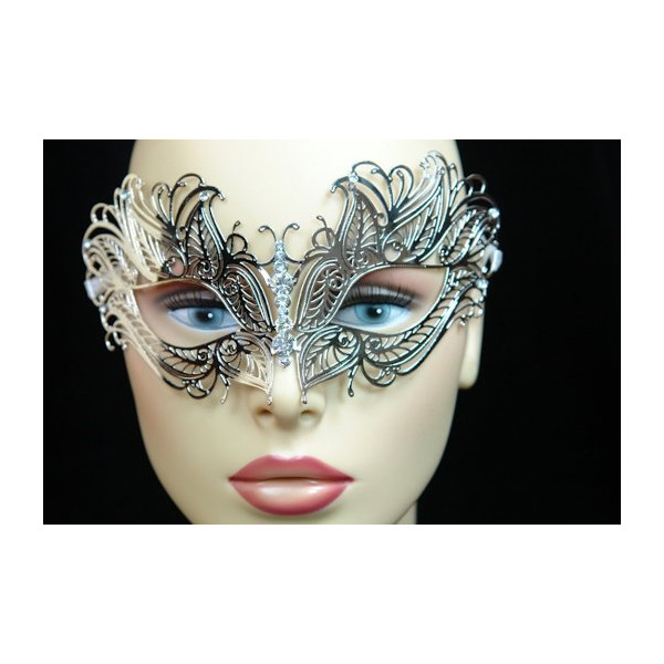Silver Laser Cut Metal Venetian Mask with Rhinestone