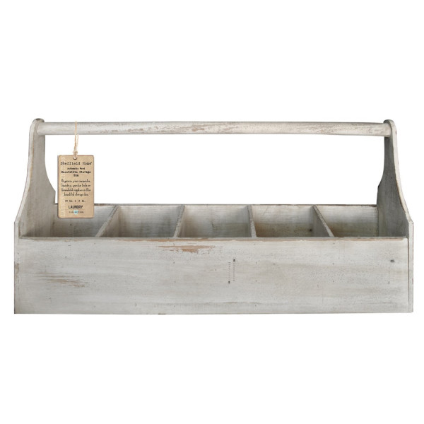 Distressed Wooden Storage 5 Compartment Basket with Rope (White)
