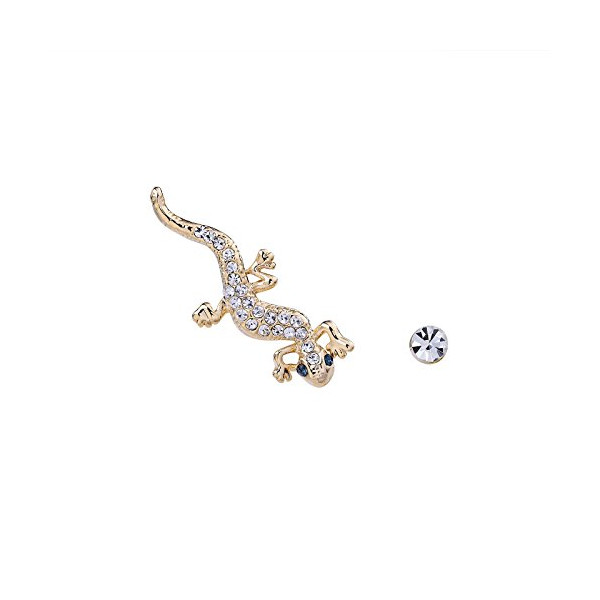 OKAJEWELRY Gecko Ear Sweep Wrap Cuff Earring with Crystal Stud 1 Pair (gold-plated-base)
