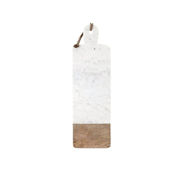 IMAX 82521 Danita Marble and Wood Cheese Board, White