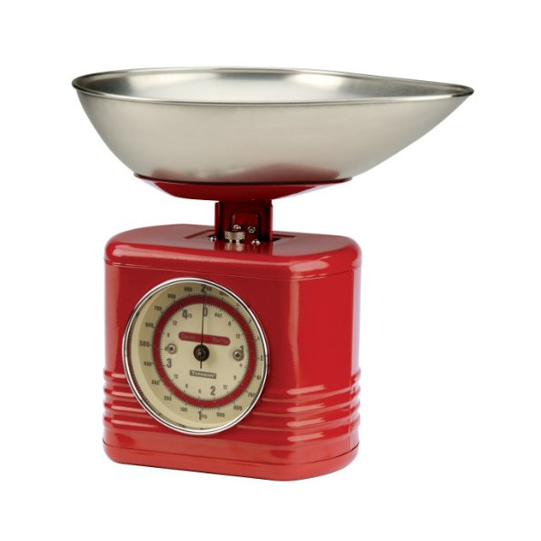 Typhoon Stainless Steel Vintage Mechanical Kitchen Scale, Red