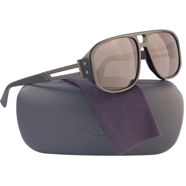 LANVIN SLN502 Aviator Polarized Sunglasses Shiny Black w/Grey (700P) LN 502 700P 59mm