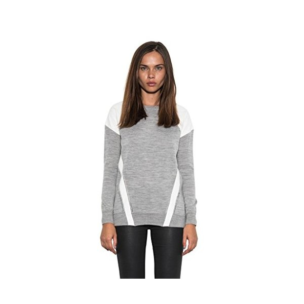 Patch Sweater One Grey Day Embossed Faux Leather Pullover Top, Women Gray-L