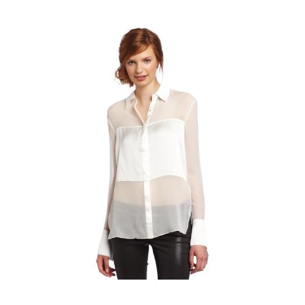 Robert Rodriguez Women's Silk Blocked Shirt, White, 10
