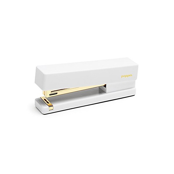 Poppin White + Gold Stapler