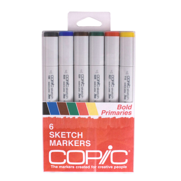 Copic Markers 6-Piece Sketch Set, Bold Primaries