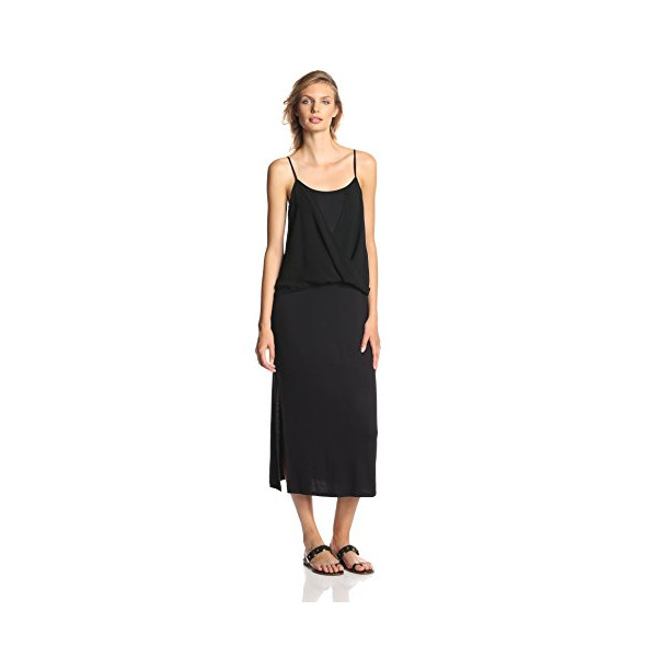 Kensie Women's Jersey Chiffon Dress, Black, Medium