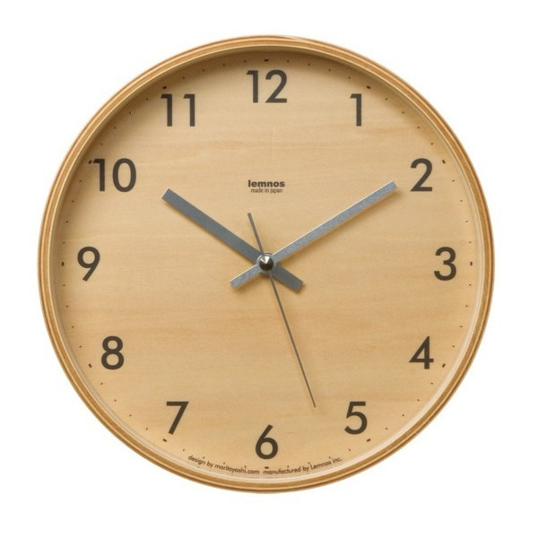 Lemnos Plywood Wall Clock S Gray