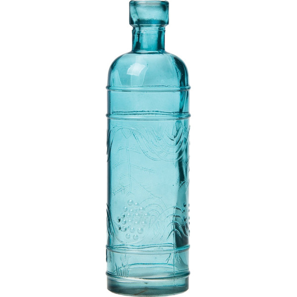 Luna Bazaar Small Turquoise Blue Vintage Glass Bottle (round design)