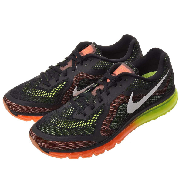 Nike Men's Air Max 2014, BLACK/SAIL/ATOMIC ORANGE/VOLT, 15 M US