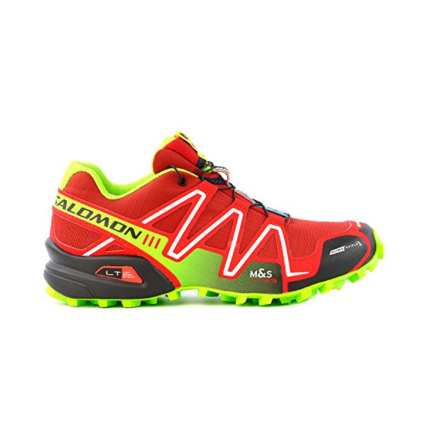 Salomon Men's Speedcross 3 CS Trail Running Shoe,Flea/Bright Red/Granny Green,10 M US