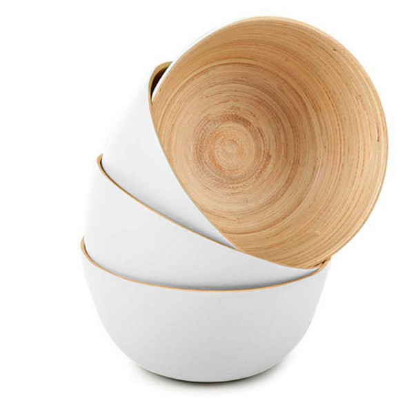 Bamboo Serving Bowls Set of 4, Painted White