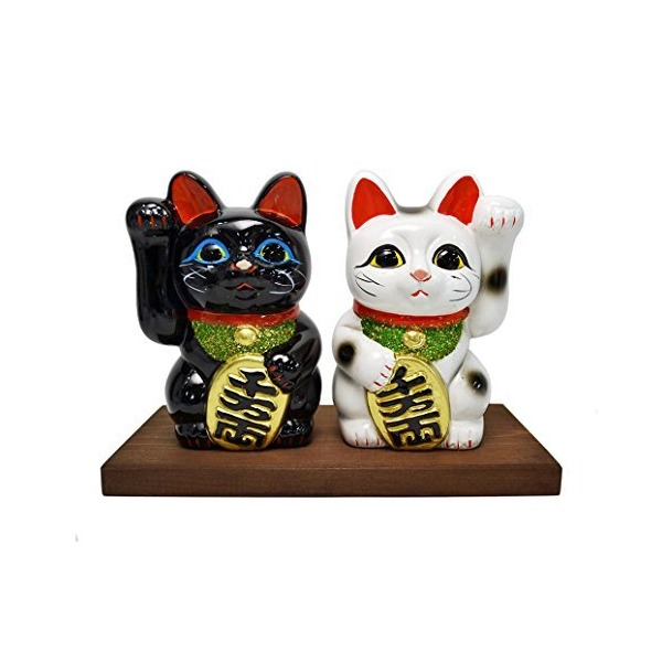 Japan Tokoname Lucky Cat 5.1'' Black & White Pair Maneki Neko with Hinoki Display Stand